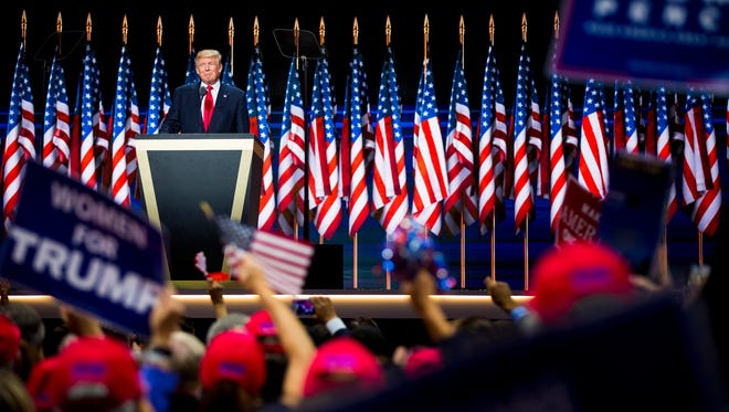 Donald Trump officially accepts the Republican presidential nomination on the final night of the Republican National Convention at Quicken Loans Arena in Cleveland, Ohio Thursday, July 21, 2016.