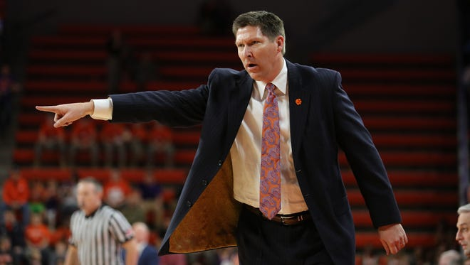 Brad Brownell reacts in the second half against Virginia Tech at Littlejohn Coliseum, Sunday, January 22, 2017.