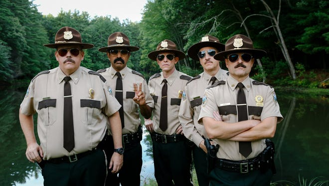 "From left, Kevin Heffernan, Jay Chandrasekhar, Erik Stolhanske, Paul Soter and Steve Lemme star  in ""Super Troopers 2,"" which debuts on Friday, April 20, 2018."