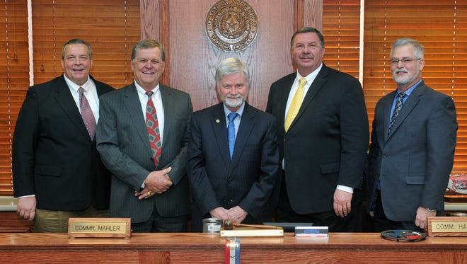 Wichita County Commissioners. From left, Jeff Watts, Barry Mahler, Woody Gossom, Lee Harvey and Mark Beauchamp. Watts, Gossom, and Harvey will be running for reelection and will be announcing their candidacy Nov. 14.