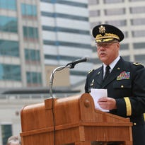 In this undated photo, Maj. Gen. R. Martin Umbarger addressed the crowd during a ceremony honoring five Indiana POW's on Monument Circle in Downtown Indianapolis. Chris Bergin/For The Star