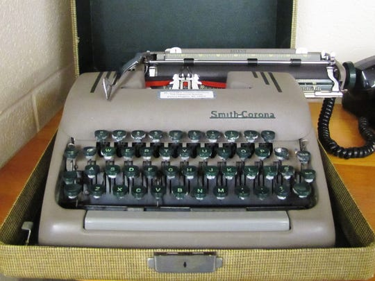A portable Smith-Corona typewriter and carrying case in technology museum being created at Horseheads Intermediate School.