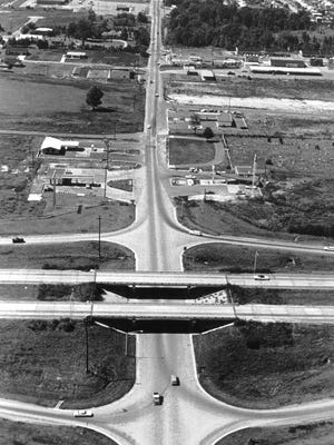 This aerial photograph, taken November 1, 1968, looks west on State Line Road from Interstate 55 in Southaven, Mississippi.  What a difference a few short years make.