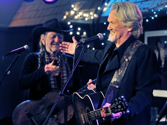 Willie Nelson, left, and Kris Kristofferson perform