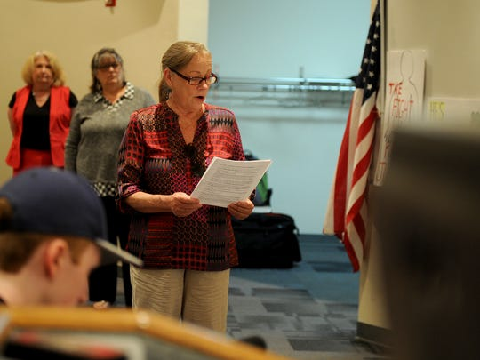 "Marilyn Wayte gives her concerns Tuesday at an ""Empty"