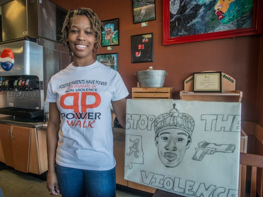 Aleah Hosea at Montgomery's Wishbone Cafe, where she is also the assistant manager, on Thursday, March 15, 2018. She is also active in community anti-gun violence movements.