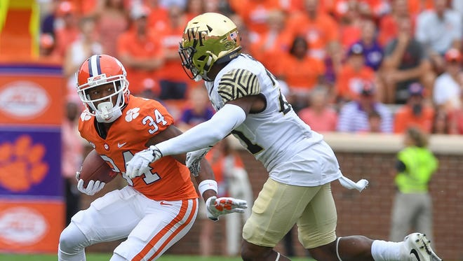 Clemson wide receiver Ray-Ray McCloud (34) returns a Wake Forest kick during the 1st quarter on Saturday, October 7, 2017 at Clemson's Memorial Stadium.