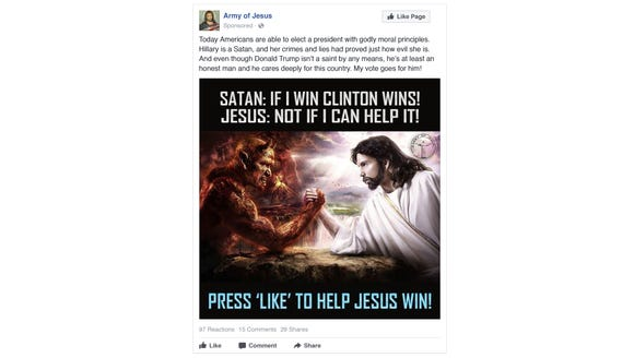This is one of the Russian Facebook ads intended to