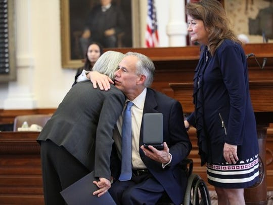 Governor Greg Abbott presents a 2017 Star of Texas