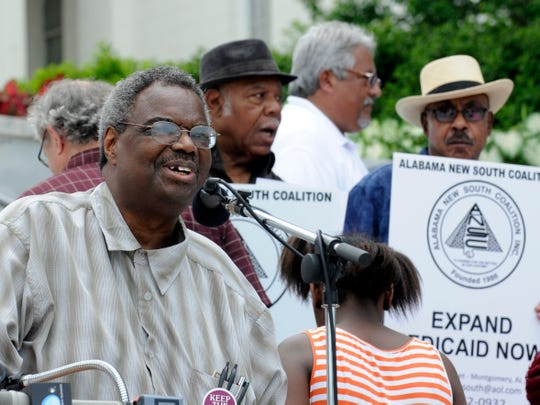 State Sen. Hank Sanders, D-Selma, speaks at a rally held by the Save OurSelves Movement on Saturday, May 31, 2014, at the Capitol. The organizations called for Medicaid expansion.
