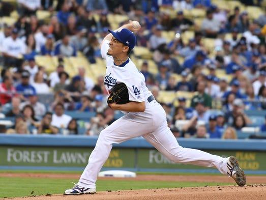 March 31: Kenta Maeda, Dodgers, 10 vs. Giants