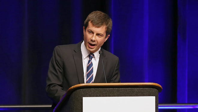 South Bend Mayor Pete Buttigieg addresses the 2016 Indiana Democratic convention at the Indiana Convention Center in June.