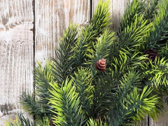 Christmas wreath on wooden door