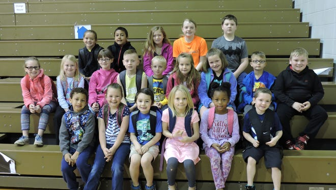 A.B. Chandler Elementary's leaders of the month are, front row from left: Zachary Gordon, Kaylee Hudnall, Avery Woodard, Heighvyn Lehman, Kamara Floyd and Madden Neely. Middle row: Kiley Nunn, Kaylee Knight, Ella Hall, Dakota Hartsock, Cassius O'Nan, Evangeline Loffland, Abby Hargiss, Ethan Durham and Cooper Phillips. Back row: Tanner Pearcy, Isiah Gordon, Aysia Powers, Jaydan Goben and Mason Caton.