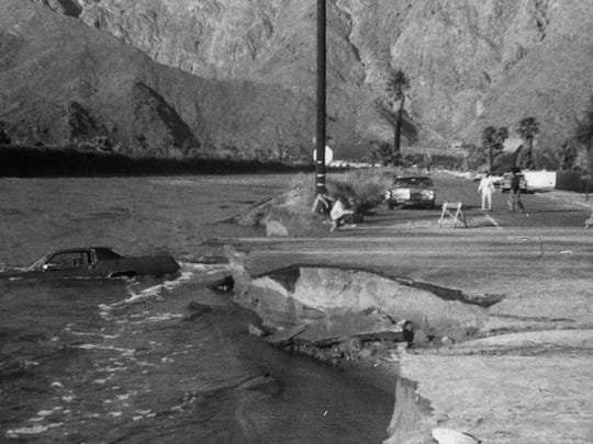 Sunrise Way is washed away by waters from Tahquitz Creek in January 1969.