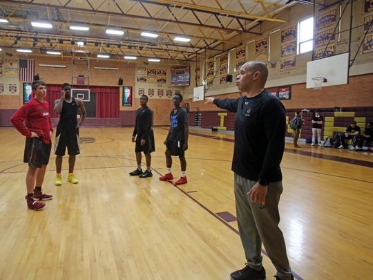 New Iona Prep basketball coach Steve Alvarado during practice at Iona Prep in New Rochelle May 8, 2017. Alvarado the former JV coach took over for longtime coach Vic Quirolo last month.