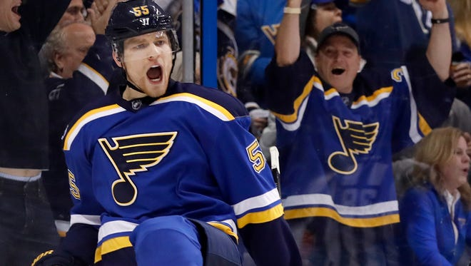 St. Louis Blues' Colton Parayko celebrates after scoring during the second period in Game 1 of an NHL hockey second-round playoff series against the Nashville Predators Wednesday, April 26, 2017, in St. Louis.