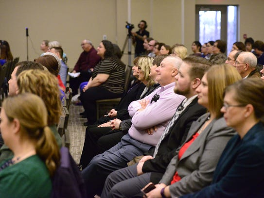 Community members listened to news about Terra State