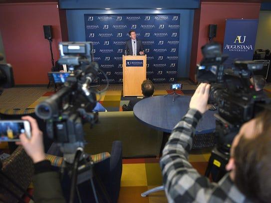 Augustana's new Director of Athletics Josh Morton speaks