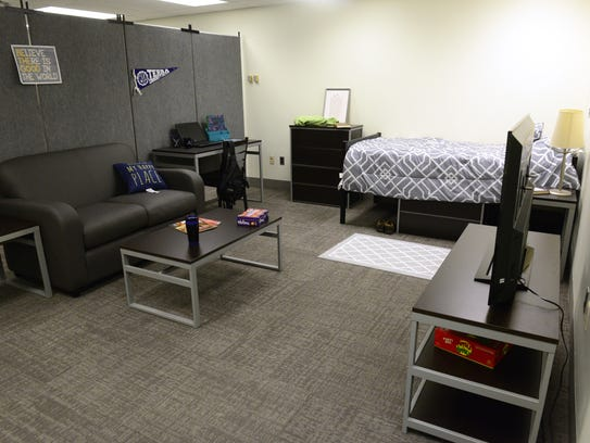 This mock dorm room was set up at Terra State Community