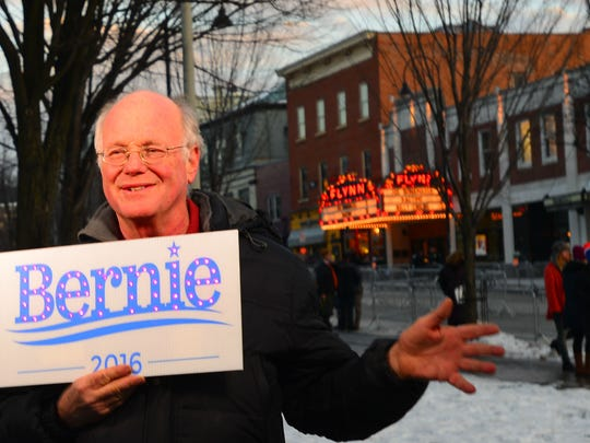 Ben Cohen, co-founder of Ben & Jerry's ice cream, stumps for Sen. Bernie Sanders, I-Vt., in January outside the Flynn Center for the Performing Arts in Burlington, where presidential candidate Donald Trump was holding a rally.