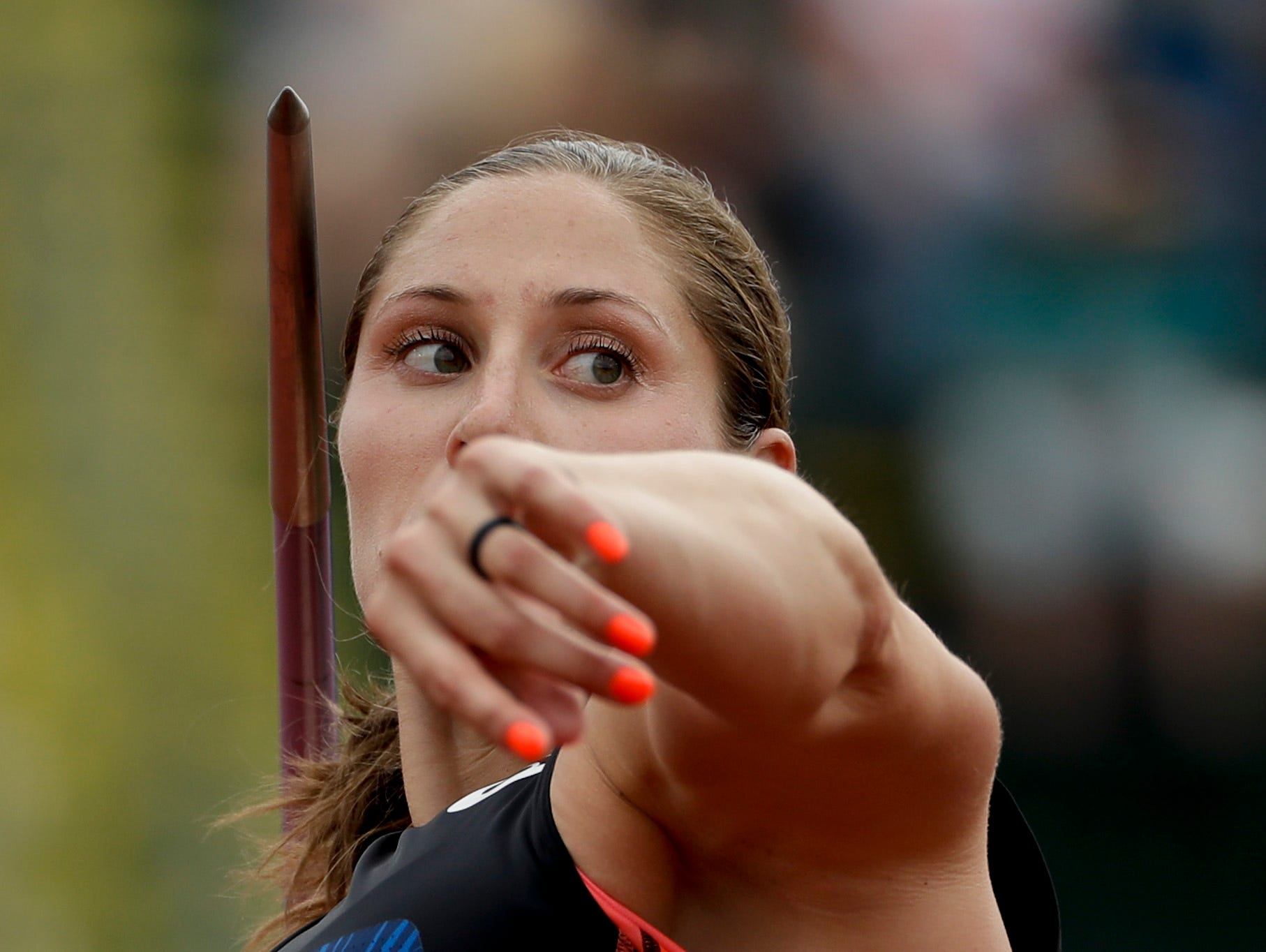 Kara Winger competes during qualifying for the women's javelin at the U.S. Olympic Track and Field Trials, Thursday, July 7, 2016, in Eugene Ore.