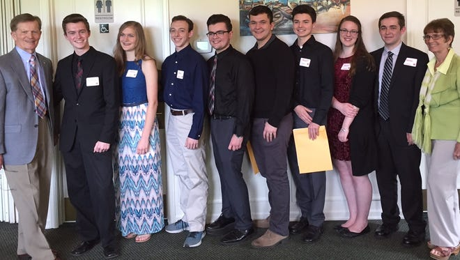 Dick Withnell, far left, and Gayle Withnell, far right, celebrate with the 2017 recipients of the Harold J. Withnell Music Scholarship. Recipients, from left to right, are: Nathan Compton, North Salem High School; Hayley Guptill, McNary High School; Greg Eggleston, McNary High School; Samuel Rhoton, West Salem High School; Zach Glaser, West Salem High School; Miguel Araiza, McNary High School; Emilie Cochran, South Salem High School; and Nolan Catton, South Salem High School.