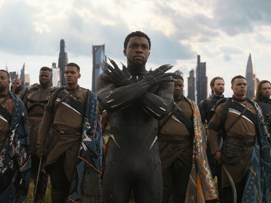 """Black Panther (Chadwick Boseman, center) is key to the very emotional finale of """"Avengers: Infinity War."""""""