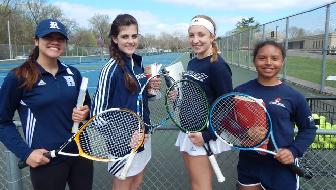 Roosevelt won a girls' tennis state championship last year. The Roughriders are also stars in the classroom. From left: Tina Dang, Kenna Bell, Eren Sagun and Samantha Alexander.