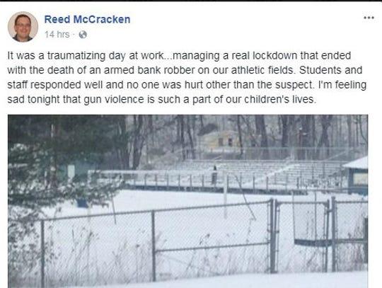 A screenshot of Reed McCracken, taken of his Facebook