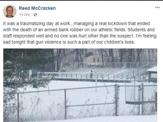 A screenshot of Reed McCracken, taken of his Facebook page post of Jan. 17, 2018.