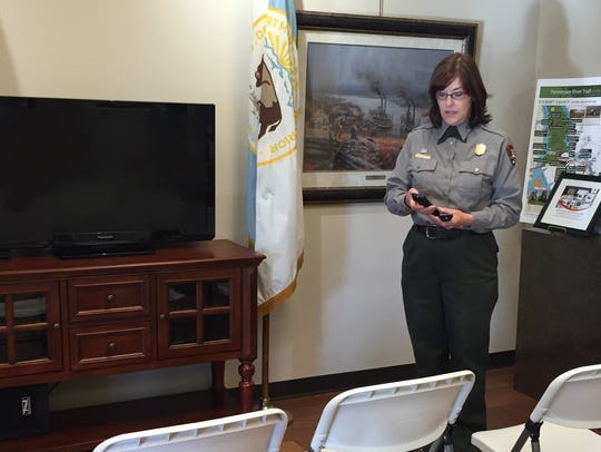 Ranger Deborah Austin prepares to start an orientation