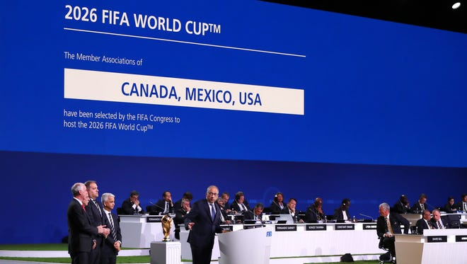 Carlos Cordeiro, president of the United States Football Association addresses the 68th FIFA Congress after the announcement of the host for the 2026 World Cup.
