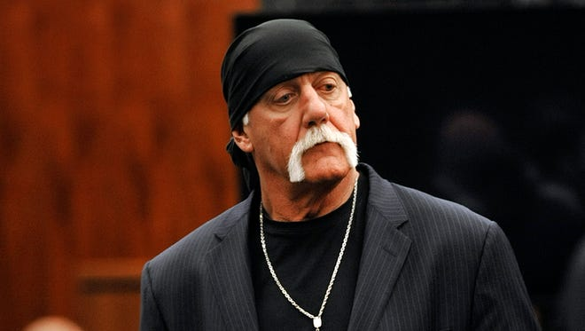 Hulk Hogan, whose given name is Terry Bollea, leaves the courtroom during a break on March 9. 2016, in his trial against Gawker Media in St. Petersburg, Fla. Hogan and his attorneys are suing Gawker for $100 million, saying his privacy was violated, and he suffered emotional distress after Gawker posted a sex tape of Hogan and his then-best friend's wife.