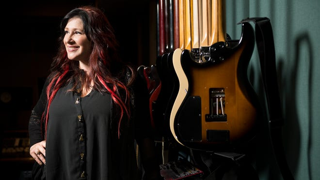 '80s pop star Tiffany Darwish, also known as Tiffany, poses for a portrait at a recording studio in Nashville, Tenn., Tuesday, Aug. 16, 2016.