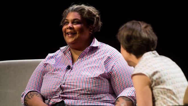 Author Roxane Gay, left, speaks with Ann Patchett, right, at Vanderbilt University's Blair School of Music in Nashville, Tenn., Thursday, July 13, 2017.