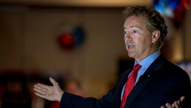Sen. Rand Paul, R-Ky., speaks to supporters gathered at The Champions of Liberty Rally in Hebron, Ky., Friday, Aug. 11, 2017. Paul was joined at the fundraising event by Kentucky Gov. Matt Bevin, and U.S. Reps Thomas Massie, R-Ky., and Jim Jordan, R-Ohio.