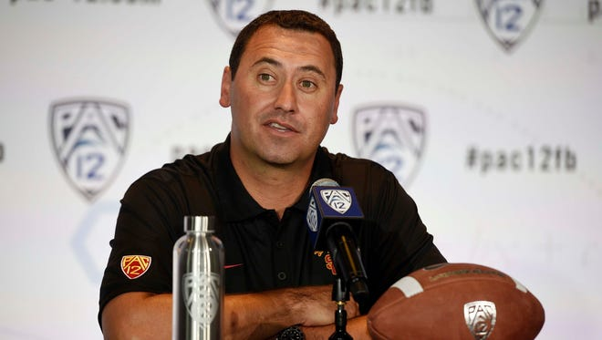 USC head coach Steve Sarkisian talks to the media during the Pac-12 Media Day at the Studios at Paramount.