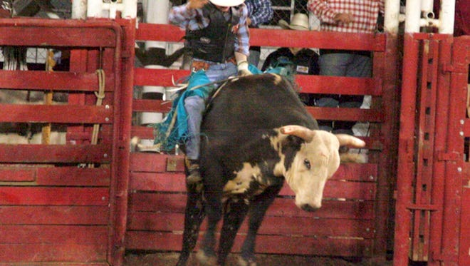 In this file photo initially published May 9, 2018, a Santa Rosa Roundup competitor attempts to stay on a bull for regulation time. The May roundup was cancelled this year because of the pandemic.