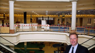Jim von Maur,  president of Von Maur Department Stores, shows the progress inside Wisconsin's first Von Maur fashion department store Wednesday. The store, set to open in April, will anchor The Corners of Brookfield retail and residential development in the Town of Brookfield.