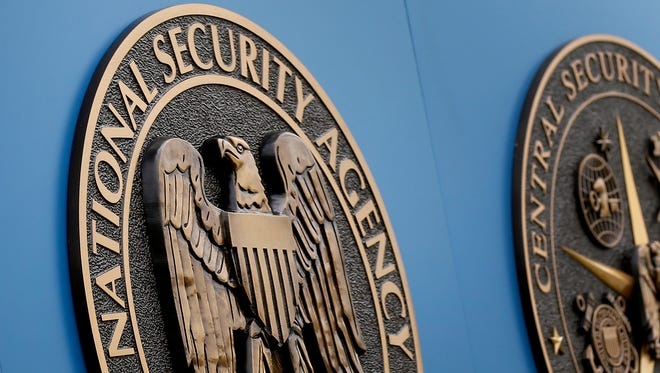 This file photo shows a sign outside the NSA campus in Fort Meade, Md.