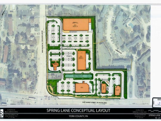 The most recent concept drawing of developer Spring Lane LLC's proposed shopping center on 12.5 acres on the northeast corner of East Market Street and Mount Zion Road.
