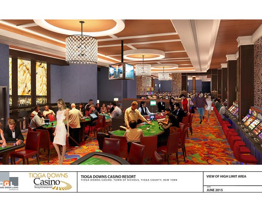 A 2015 rendering shows what the new table gaming area at Tioga Downs could look like. The Gaming Commission Tuesday approved Tioga Downs' request to become a full-fledged casino.