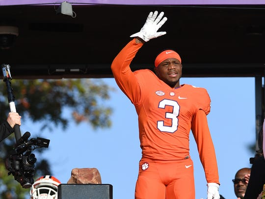Clemson wide receiver Artavis Scott (3), the first third-year junior to ever play in the Senior Bowl, is introduced on Senior Day before the Tigers' game against Pitt on Nov. 12, 2016 at Clemson's Memorial Stadium.