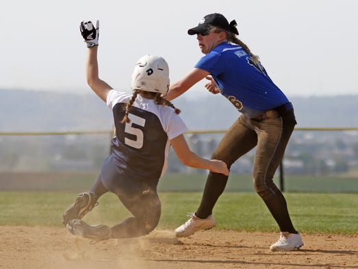 Garden Spot's Sydney Nichols makes the tag at second