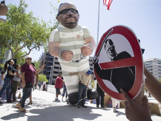 Protesters outside the Sandra Day O'Connor Federal