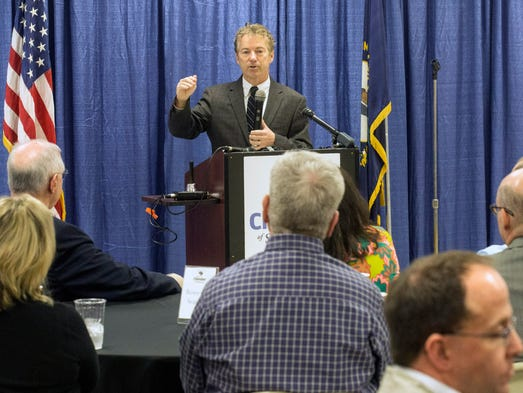 Senator Rand Paul spoke to a group gathered in the