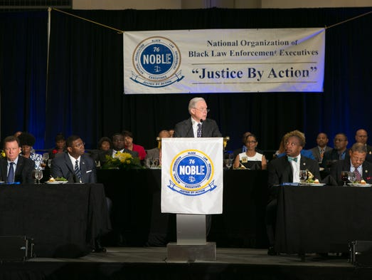 Sessions gives a speech during the National Organization
