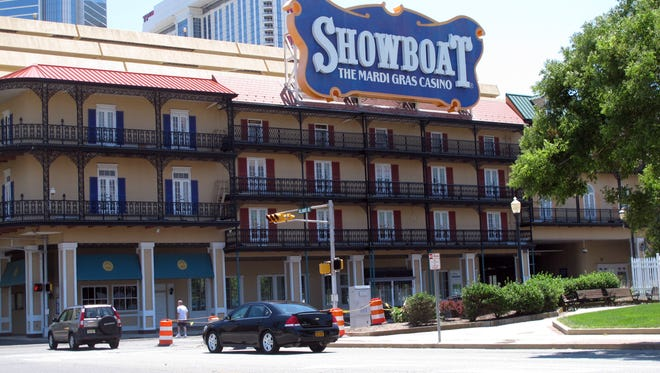 The Showboat Casino Hotel in Atlantic City  is seen  on June 27,  hours after its parent company, Caesars Entertainment, announced it would shut down the Showboat on Aug. 31.