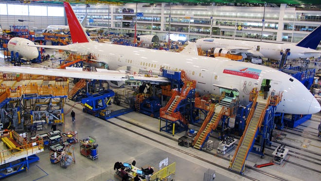 Workers assemble Boeing 787 Dreamliners in the company's massive assembly plant in North Charleston, S.C.